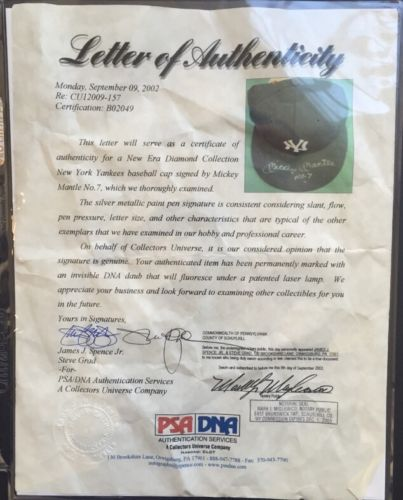 4fb3a63a3d0 ... MICKEY MANTLE Signed Ins  7 New Era AUTHENTIC Yankees Hat Mint  Autograh
