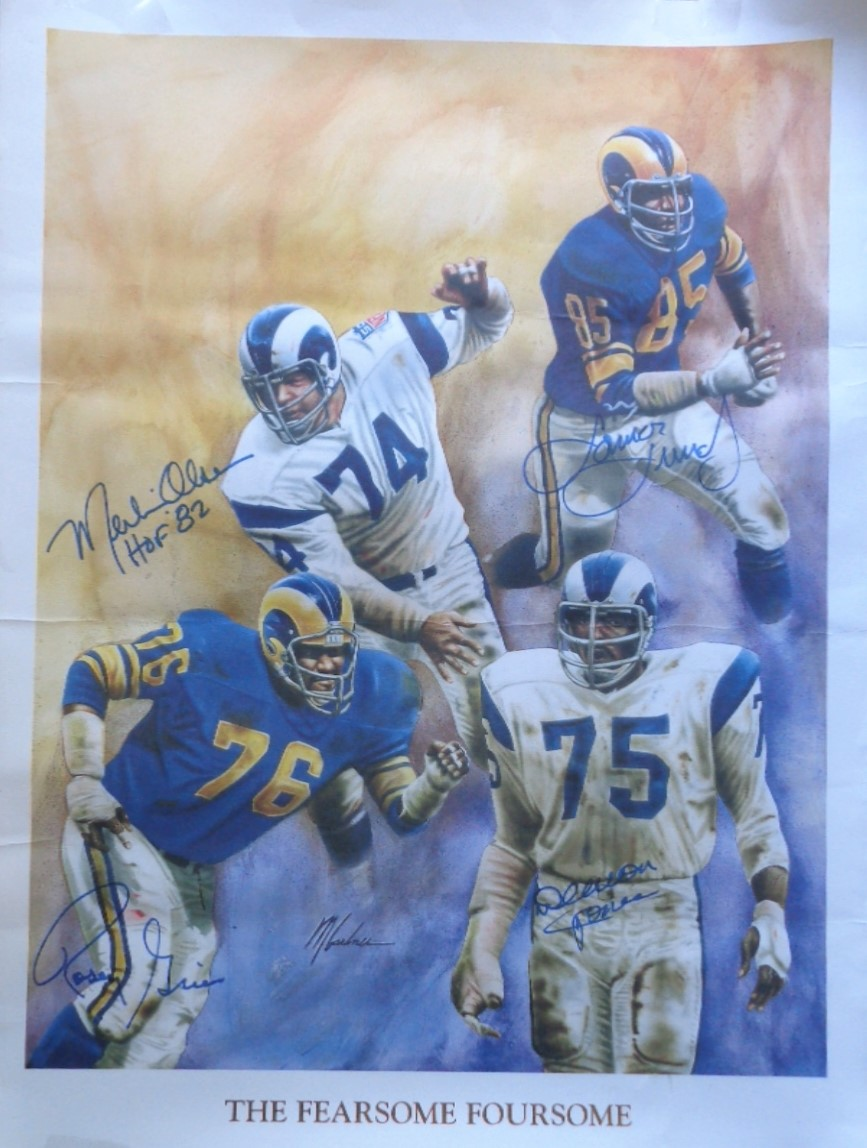 8f1630146 The Rams FEARSOME FOURSOME Lithograph Signed by Jones Lundy Grier Olsen  with inscriptions