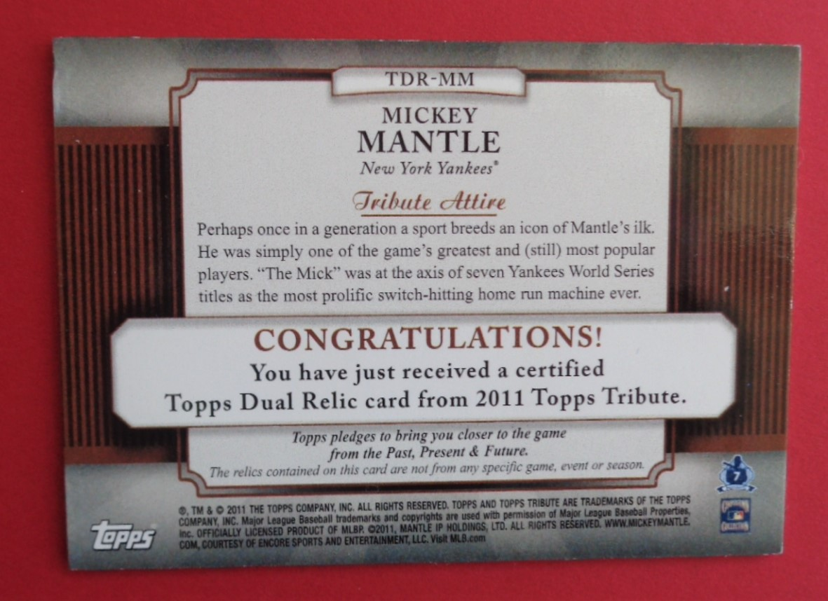 Lot Detail - MICKEY MANTLE DUAL GU BAT PIECES CARD SP 2011
