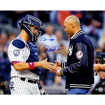 c54e0efcd89 Gary Sanchez and Derek Jeter Dual Signed First Pitch At Jeter Retirement  Night 16x20 Photo -